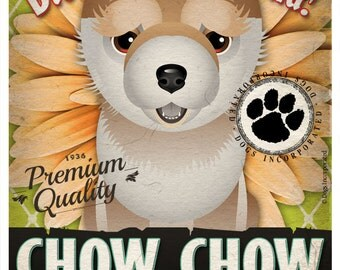 Dogs and Flowers Art Print - Chow Chow Art Poster 11 x 14