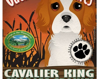 Cavalier King Charles Wilderness Dogs Art Print - Personalized Dog Breed Art -11x14- Customize with Your Dog's Name - Dogs Incorporated