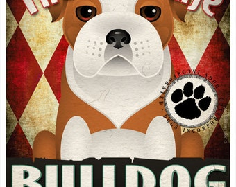 Bulldog Pampered Pups Original Art Print - 11x14 - Dog Poster - Dogs Incorporated