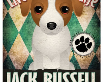 Jack Russell Pampered Pups Original Art Print - 11x14 - Dog Poster - Dogs Incorporated
