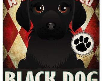 Black Dog Pampered Pups Original Art Print - 11x14 - Dog Poster - Dogs Incorporated