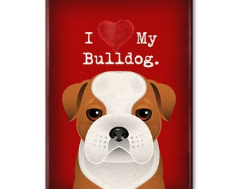 "I Love My Bulldog Magnet - I Heart My Dog - Refrigerator Magnet for Dog Lovers 2.5""x 3.5"""