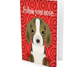 Funny Beagle Company Greeting Card - Dog Lover Note Cards (pack of 6) - includes  6 Color-Coordinated Envelopes