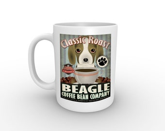 Dogs Incorporated Coffee Mug for Dog Lovers - Beagle with Coffee - 15 oz with comfort grip handle