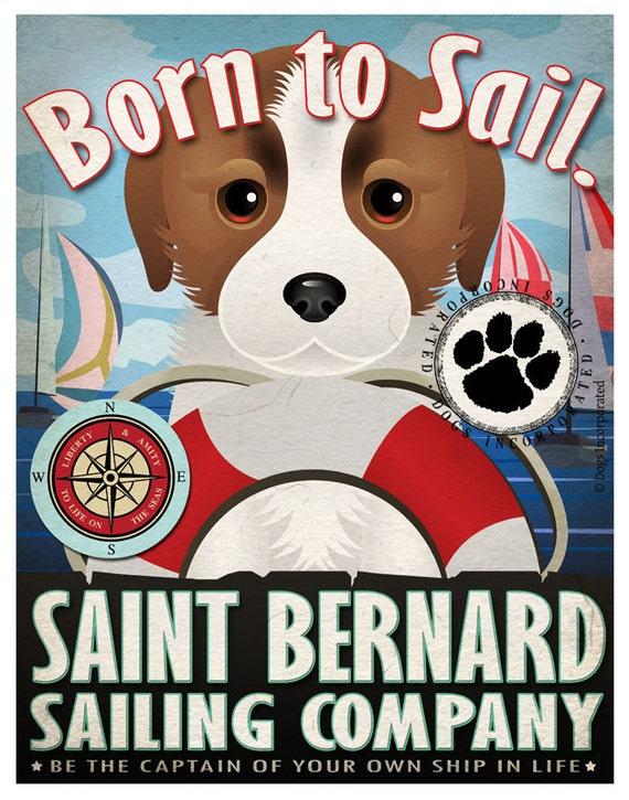 St Bernard Sailing Company Original Art Print - 11x14- Customize with Your Dog's Name