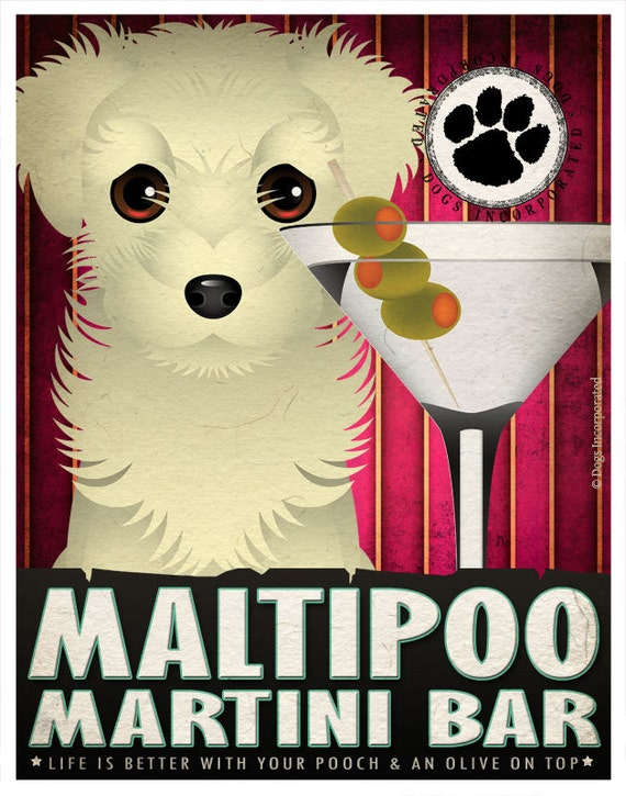 Maltipoo Drinking Dogs Original Art Poster Print - Personalized Dog Wall Art -11x14- Customize with Your Dog's Name - Dogs Incorporated