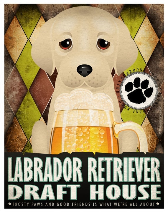 Labrador Retriever Drinking Dogs Original Art Poster Print - Personalized Dog Art -11x14- Customize with Your Dog's Name - Dogs Incorporated