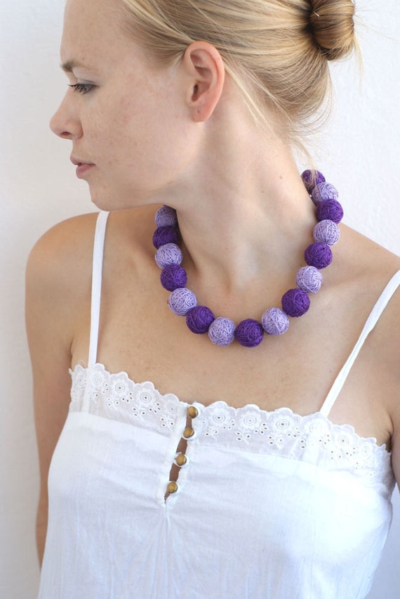 Lilac balls handmade beaded necklace thread cotton for women fiber natural geometric magenta violet purple