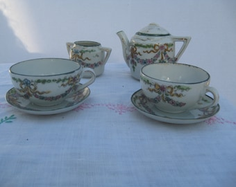 Tea for Two Green Swag Porcelain 8 pc Set 1940's