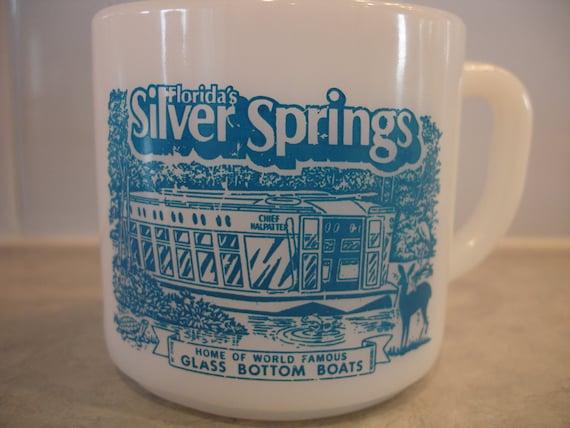 Vintage Federal Florida's Silver Springs Coffee Mug White Milk Glass