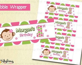 Pink Mod Monkey Bubble Bottle Wrapper