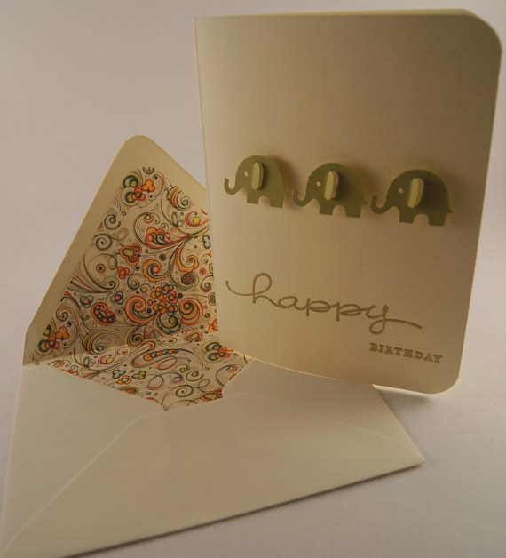 Elephant Birthday Card with Fancy Swirls Envelope Liner