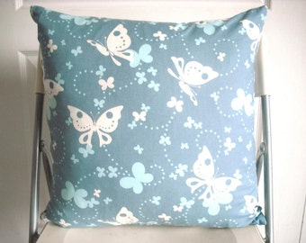 """18""""x18"""" Blue, White, Navy Butterfly Floral Moda Fabrics Designer Print Pillow Cover with Zipper"""