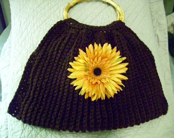 Crocheted Lined  Brown Purse / Bag  with Silk Flower and Bamboo Handles