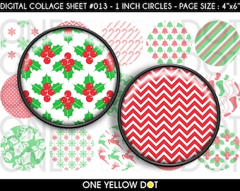 INSTANT DOWNLOAD - 1 Inch Circles Digital Collage Sheet - Vintage Red Green Christmas - Bottle Caps Scrapbooking Pendant Magnets Tags - 013