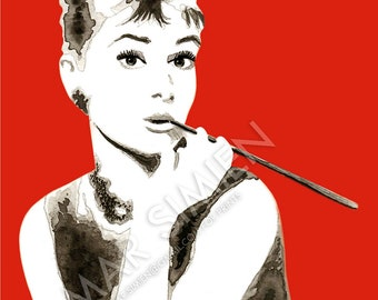 "Audrey Hepburn watercolor painting- red background- mixed media- Breakfast at Tiffany's- 8"" x 10"" art print- FREE SHIPPING"