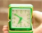 1970s Bright Green Gold Trim Vintage Plastic Kitsch Travel Alarm Clock