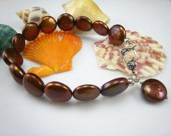bridial jewelry,wedding bracelet,beaded bronze freshwater pearl bracelet