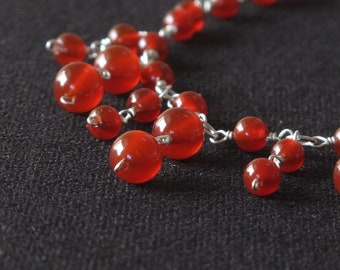 carnelian sterling silver handcrafted necklace