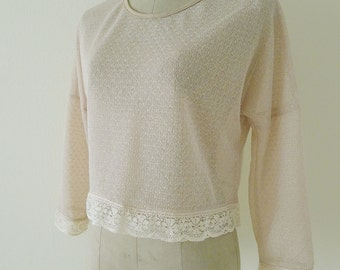ALL LACE long sleeves blouse, cropped top, loose long sleeves blouse, semi sheer, grunge, indie, teenager, delicated lace trim - CREAM