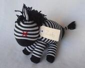 RESERVED FOR LESLIE. Zeb Zebra. Sock animal, sock zebra, sock monkey, soft plush toy for children. Black and white.