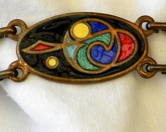 Vintage 1960s Tara TaraWare of Dublin Cloisonne Book of Kells Celtic Five-Link Bracelet