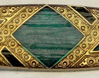 Vintage Pierre Bex Style Art Deco Revival Emerald & Jet Enamel Brooch Pin