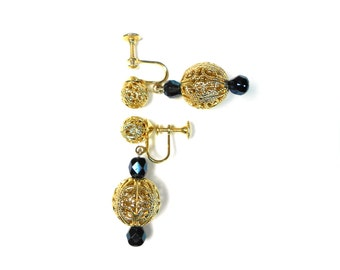 Gold Post Earrings with bead