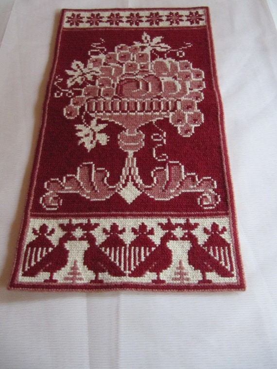 Beautiful swedish hand embroidered wall hanging / flowers