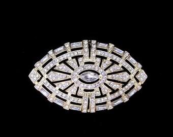 Art Deco style vintage inspired rhinestone brooch applique