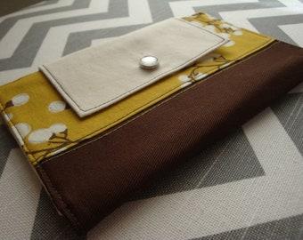 Sleek women's fabric wallet / clutch / pocketbook - mustard yellow branch pattern