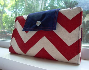 Patriotic chevron wallet / clutch / pocketbook in red, white, and blue