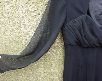 Jumpsuit Black Chiffon Wide Leg Pants Sheer Sleeves Ruched Bodice Disco Style Size 6