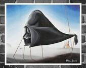 "Poster 12"" x 16"", laser print of my original painting: ""the sleep of the dark side"", Dalì's masterpiece, ""the sleep"" parody,"