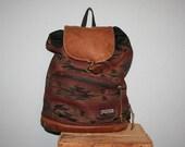 90s JANSPORT BACKPACK / Aztec Navajo Tribal Leather Trim