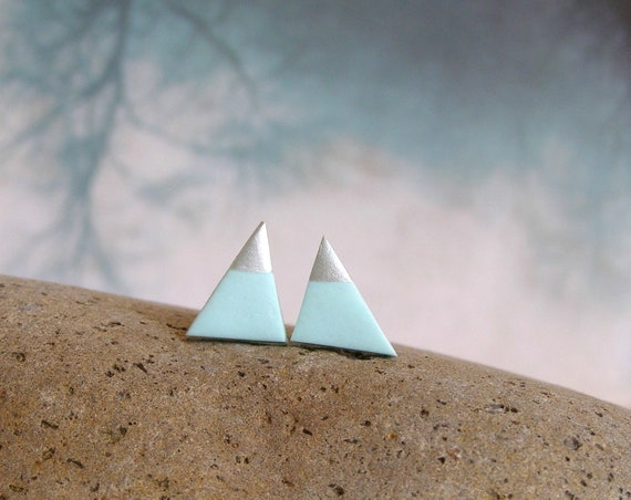 Mint Silver Dipped Geo Triangle Stud Earrings