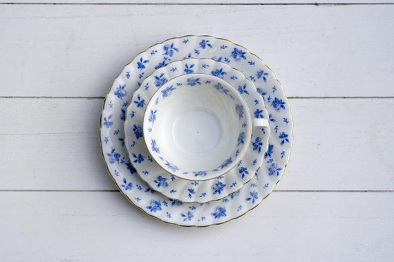 Vintage 1930s Teacup and Saucer Trio Set - White and Blue Floral