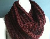 RESERVED LISTING - Crochet Infinity Scarf - burgundy/maroon