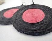 Black Pink Hemp cord Earrings