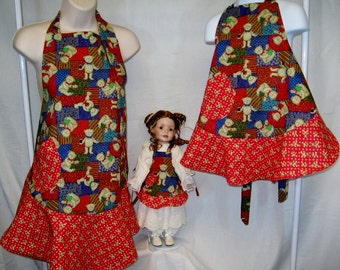 Christmas Aprons for Mom, Daughter and Favorite Doll