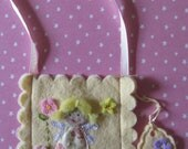 Tooth Fairy Bag, hand made with lemon and pink felt and fabrics.