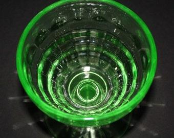 Green Depression Glass Vaseline Desert Cup