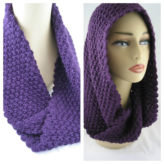 Hand Knit - Rich Purple Mobius Infinity Scarf