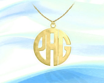Monogram Necklace - 1 inch 24K Gold Plated Sterling Silver Handcrafted Initial Necklace - Made in USA