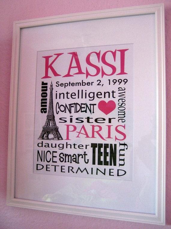 Paris Girls Room Subway Sign Name Personalized Custom Wall Art Eiffel Tower