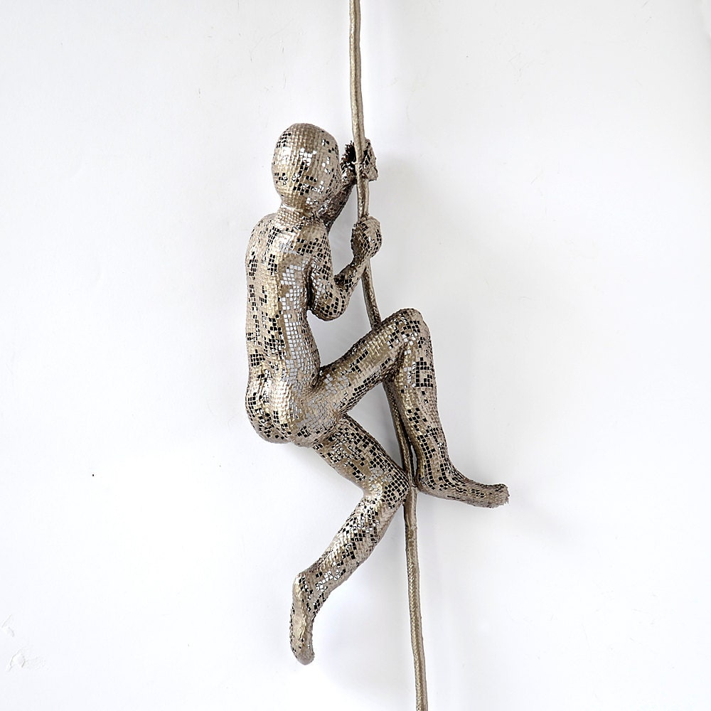 Climbing figure on the rope metal wall art unique by nuntchi for Wire wall art