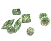 Polymer clay beads, combination set of Millefiori kaliedoscope pattern in greens red yellow and white, set of 8 elegant beads