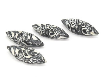 Black and white leaf shaped beads, set of 4 Polymer Clay beads in unique pattern, Marquise beads