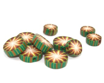Greens, brown and white kaleidoscope flat and round beads, unique beads pattern, Set of 10