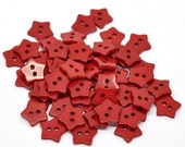 20 STAR Shaped Plastic Buttons Two Hole 15mm RED  Wholesale Buttons - 20Pack PB02